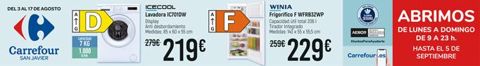 Lavadora Icecool , display, antidesbordamiento.219 euros. Frigorifico Winia 229 euros