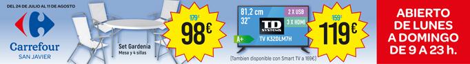 Carrefour verano ofertas garden y televisión